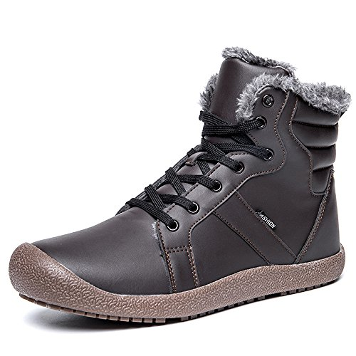 Fung-wong Men's Warm PU Leather Snow Boot Fur Lined Lace Up Ankle Sneakers High Top ()