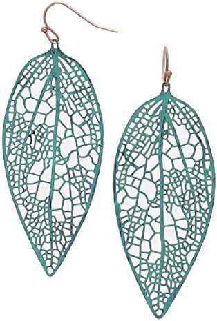 Turquoise Earrings Blue Leaf Copper Plated LARGE 3