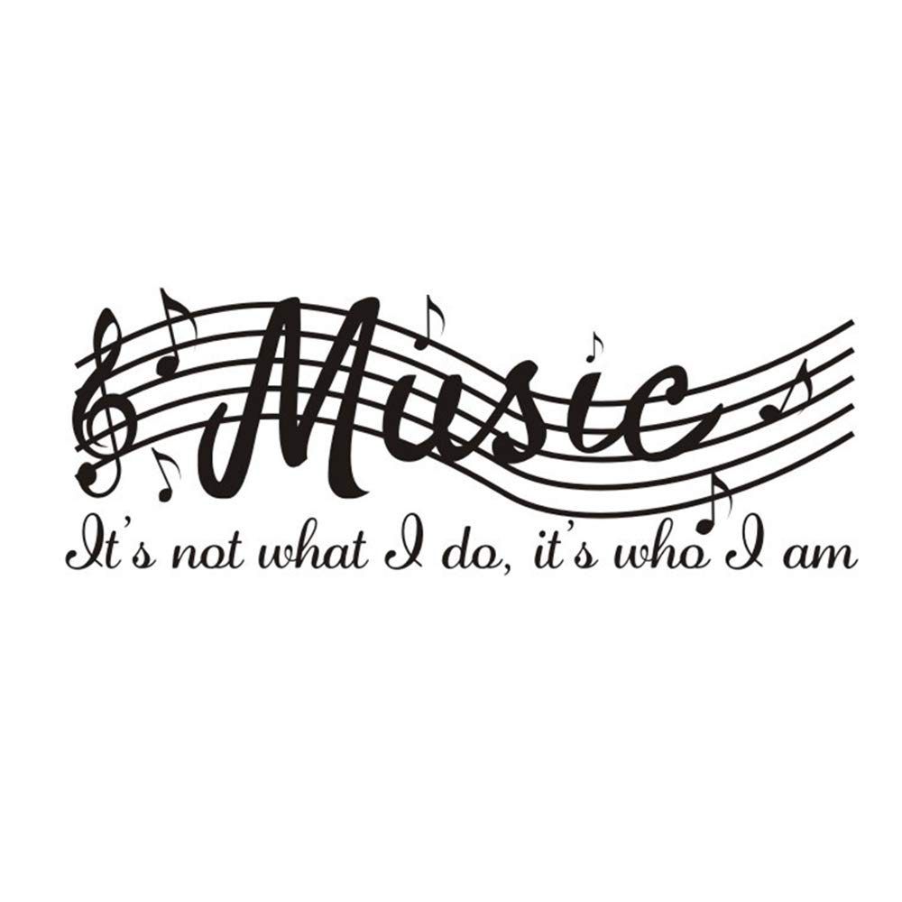 SNOMEL Wall Sticker with Musical Note and Sayings, Wall Decal Made of Vinyl, Art Mural Wallpaper for Office, Bedroom, Music Room, Dance Room and Other Decors