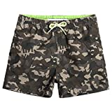 MaaMgic Little Boys' Beach Trunk Toddler Swim Shorts Animal Patterned Boardshorts Lightweight Beach Shorts Adjustable Waist Great for Kids Ages 2-7 Year