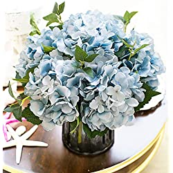 Lannu Artificial Hydrangea Flowers Silk Floral Fake Bouquet Flower for Home Wedding Wall Decor Pack 2, (Blue)