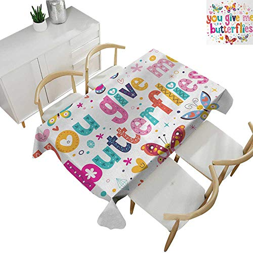 Butterfly,Microfiber Tablecloth Love Valentines Quote Hearts Happy Butterflies Flowers Romantic Cartoon Print Patterned Tablecloth Multicolor 50