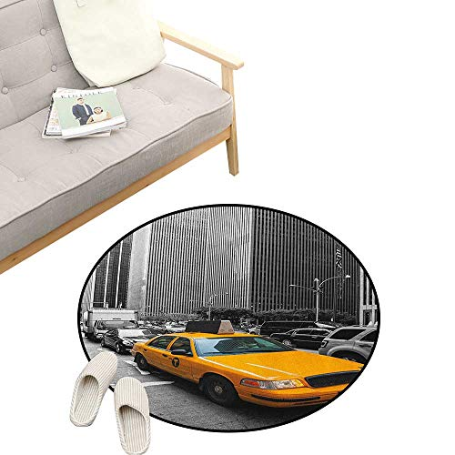 City Round Rug ,Yellow Cab in New York City Touristic Attractions Traffic Road Photography, Flannel Microfiber Non-Slip Soft Absorbent 23