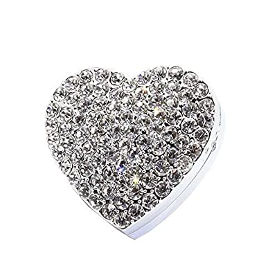 Bestbling Crystal Sparking Heart Shape Natural Car Vent Clip Air Freshener for Auto (Silver): Home & Kitchen