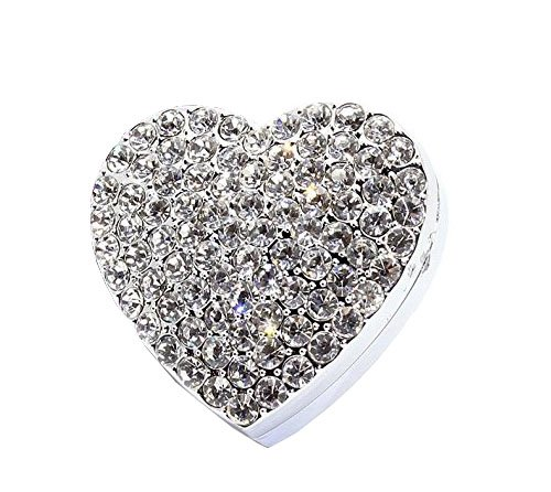 Bestbling Crystal Sparking Heart Shape Natural Car Vent Clip Air Freshener for Auto (Silver)