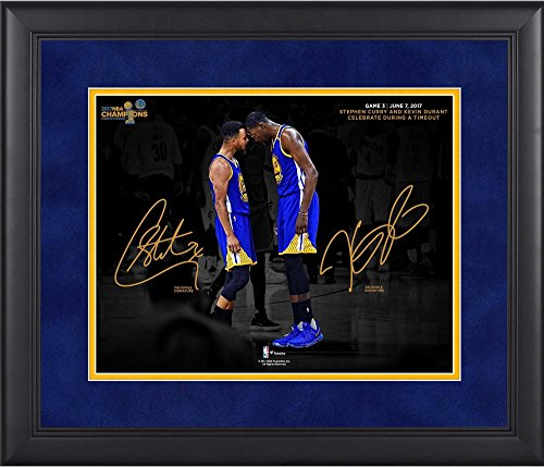 "Stephen Curry, Kevin Durant Golden State Warriors Framed 11"" x 14"" 2017 NBA Finals Champions Celebration Spotlight Photograph - Facsimile Signature"