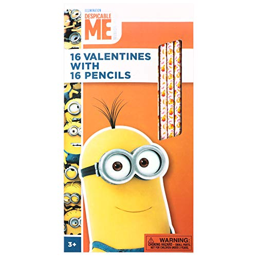 Paper Magic Group 4555345-ACAMZ Despicable Me Minions Valentine's Day Cards and Pencils for Kids, 32 Piece]()
