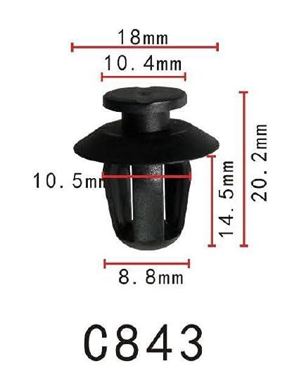 Para Fiat Renault BMW Mercedes Capucha Sello Recortar Panel Clips Bonnet Alfombra X10