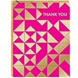 PAPER SOURCE // DELUXE BOXED STATIONERY // MODERN FUCHSIA AND GOLD TRIANGLES THANK YOU NOTE CARDS // PINK, FUCHSIA,PURPLE,MAGENTA,GOLD, TRIANGLE,party,thank you