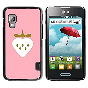 Paccase / SLIM PC / Aliminium Casa Carcasa Funda Case Cover para - Strawberry Art Pink Drawing Watercolor - LG Optimus L5 II Dual E455 E460