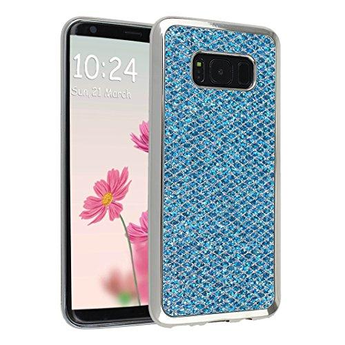 Galaxy S8 Plus Case, Asnlove Bling 6.2 pulgadas Carcasa TPU Silicona Bumper Shock-Absorción Slim Silicon Funda Trasera Back Cover Phone Shell Protector Funda Para Samsung Galaxy S8 Plus Azul
