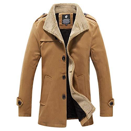 (Kemilove Men's Winter Fleece Leather Jacket Coat Lamb Wool Jacket)