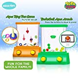 Handheld Water Game By YoYa Toys: A 2 Pack Set Of A Fish Ring Toss And A Basketball Aqua Arcade Toy In 2 Different Colors – Compact Mini Retro Pastime For Kids And Adults In A Gift Box