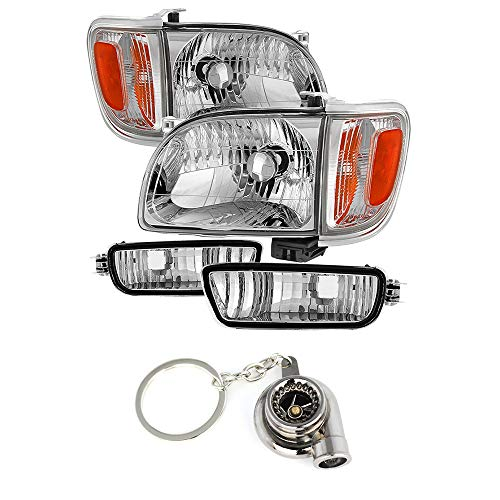 (Toyota Tacoma Crystal Headlights W/Amber Corner & Side Marker Lights 6pcs Chrome Housing With Clear Lens+ Free Gift Key Chain Spinning Turbo Bearing )