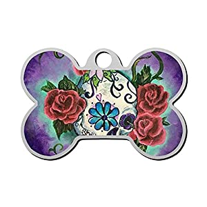 XInhaoLEI Sugar Skull Tattoo Flower Dog Tags Personalized Double Sided Stainless Steel Pet ID Tag
