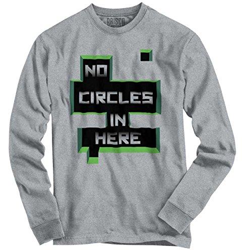 Xbox 360 T-shirt - No Circle Here Mine Craft Shirt | Funny PC Gamer Xbox 360 PS Youth Long Sleeve