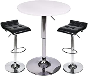 Bar Table Set of 3 - ARTETHYS Adjustable Round Table and Swivel Adjustable Barstools Set for Home Kitchen and Bistro (White Table+Black Stools)