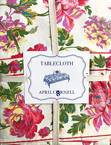 April Cornell Fabric Tablecloth Floral Pattern in Shades of Red Green Pink Purple Blue Yellow on Cream - 70 Inches Round