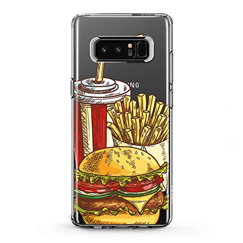 Lex Altern Samsung Galaxy TPU Case Note Edge s9 2018 Plus A7 A8 s8 A9 Tasty Food Clear Potatoes Pattern Cover Soft Silicone 2018 Print Protective Burger Cola Transparent Kids Girls Ladies Women Top -