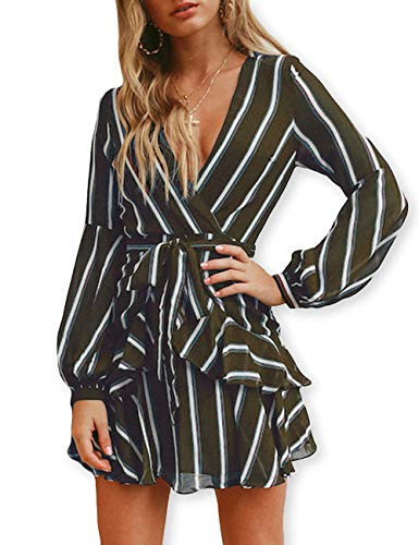 AOOKSMERY Women Sexy Strips Ruffles V-Neck Long Sleeve Empire Waist Short Dress with Belt (Olive, Medium)