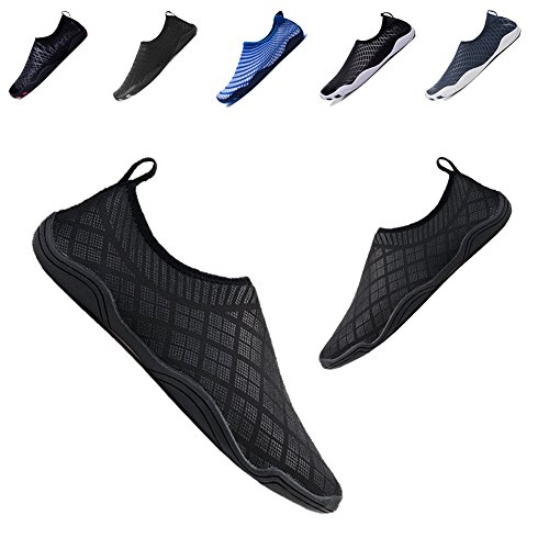 Quick Drain (YALOX Men Women Water Shoes Outdoor Beach Swimming Aqua Socks Quick-Dry Barefoot Shoes Surfing Yoga Exercise(N78-Black,39EU))