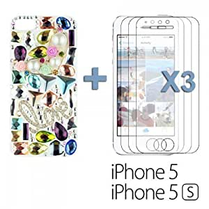 OnlineBestDigital - Handmade Diamond Rhinestone Hard Back Case for Apple iPhone 5S / Apple iPhone 5 - Love with 3 Screen Protectors