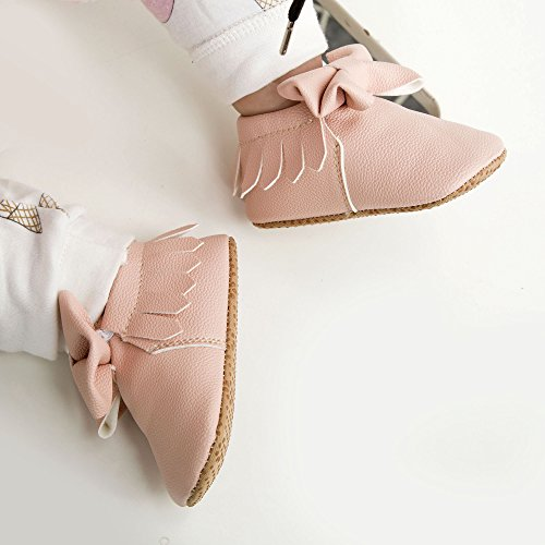 Dicry Baby Girls Leather Moccasins Elastic Cuffs Non-Slip Soft Sole Crib Shoes With Tassel Bowknot For 12-18 Months Toddler Pink - Image 7