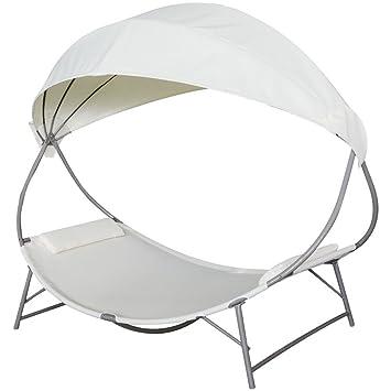 GroB Festnight Sonnenliege Mit Dach Liege Relaxliege Gartenliege Outdoor Liege  Für Garten Oder Terrasse   Cremeweiß