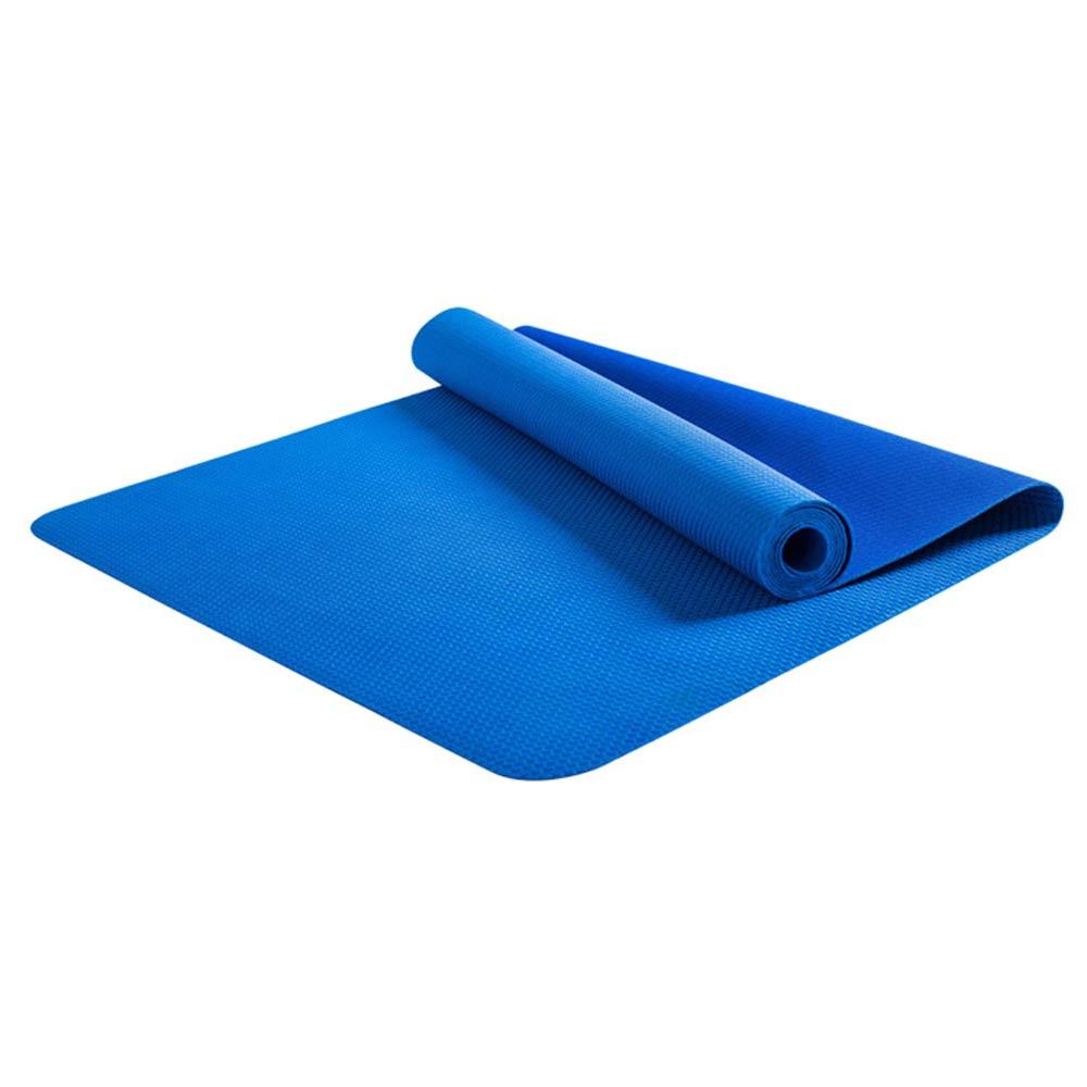 LS-Exercise Fitness Yoga Mat - Professional Natural Rubber Yoga Mat Non-Slip Female Folding Yoga Mat Ultra-Thin Portable 1.5mm Paving Fitness Mat [Send Storage Bag]& (Pattern : Blue)