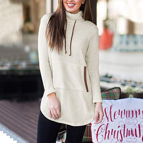 Beige Solides Shirt Manches Taille Femmes Pull Grande Manteau Top Blanche ALIKEEY Over Blouse Sweat Poche Chemise Longues Stand Femme Femme Hiver gnxqBROz7