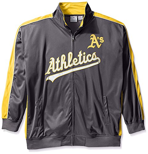 Oakland Athletics Track Jacket - Men's Oakland Athletics Big & Tall Reflective Performance Full Zip Track Jacket Fleece 3XL