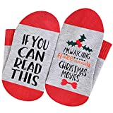 VoVii Womens Watching Hallmark Christmas Movies Socks If You Can Read This Gifts (Red Flower, 1)