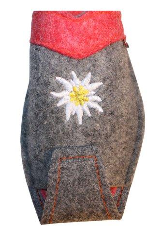 Damen Hausschuhe leandlicher Art: warmer Flies, Wolle, in Grau mit Rosa Grau mit Rosa