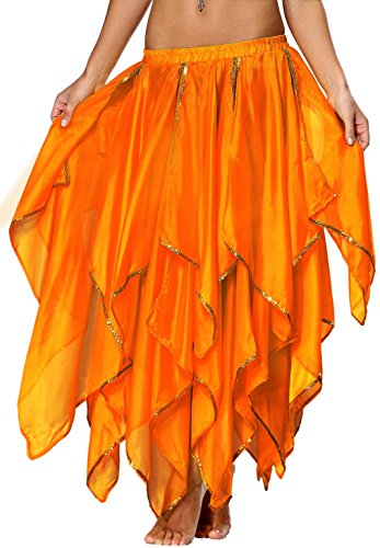 Seawhisper Chiffon Fairy Fancy Skirt Belly Dance Skirt for Women with Sequin Side Split