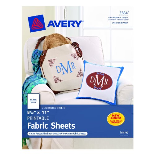 Iron On Fabric Sheets (Avery Printable Fabric for Inkjet Printers, 8.5 x 11 Inches, Pack of 5)