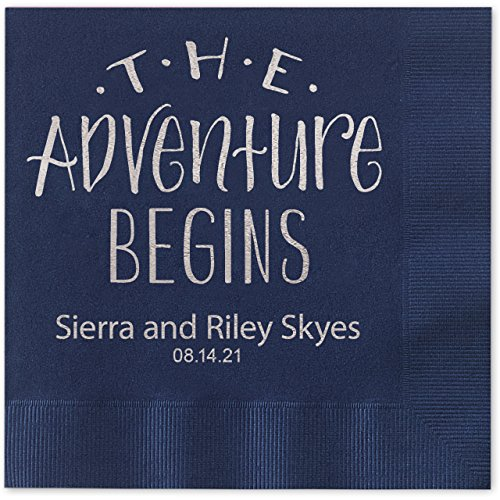 The Adventure Begins Personalized Beverage Cocktail Napkins - 100 Custom Printed Navy Blue Paper Napkins with choice of foil