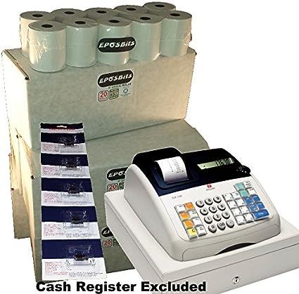 eposbits® marca 100rollos + 5x de tinta para máquina de escribir Olivetti ecr7100ECR 7100Caja registradora