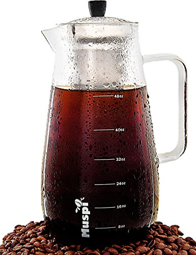 Large Cold Brew Coffee Maker – 48 Oz (1.5 Liters) Glass Pitcher Cold Brewer with Removable Stainless Steel Filter – Iced Tea Infuser Pitcher