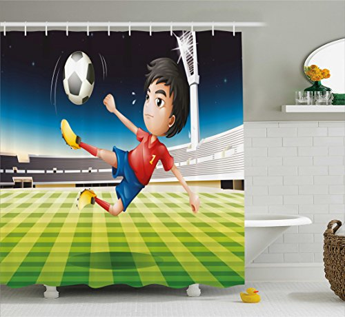 Ambesonne Kids Shower Curtain, Young Boy Playing Football in The Stadium Athlete Sports Soccer Championship Graphic, Fabric Bathroom Decor Set with Hooks, 70 inches, Multicolor by Ambesonne
