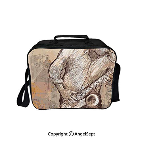 Multifunctional Lunch Bags for Women Wide Open,Jazz Musician Playing the Saxophone Solo in the Street on Grunge Background Art Print Brown Ecru 8.3inch,Lunch Box With Double Deck Cooler Tote Bag