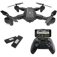 AURELIO TECH RC Foldable Flight Path FPV VR Wi-Fi RC Quadcopter 2.4 GHz 6-Axis Gyro Remote Control Drone with 720P HD, 2MP Camera Drone, Bonus Battery