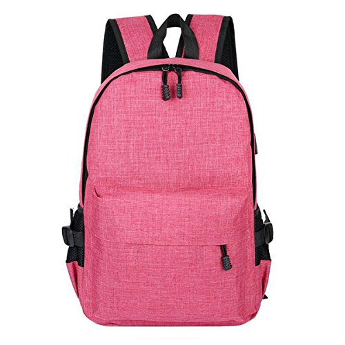 Mochila Antirrobo Smart USB Carga Hombro Hombres Y Mujeres Bolso De Ordenador Bolsa De Viaje Pink