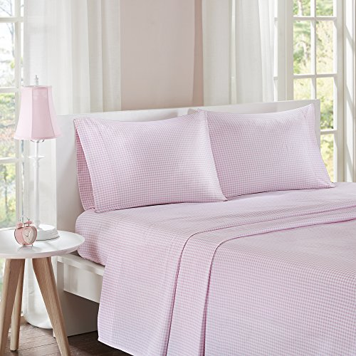 PH 4 Piece Queen Pink Pinewood Gingham Printed Bed Sheet Set, Farmhouse Style, Deep Pockets, Cotton Material, Geometric Pattern, Fully Elasticized Fitted Sheet, Machine Wash - Light ()