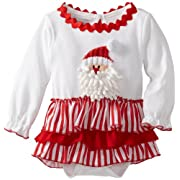 Mud Pie Unisex-Baby Newborn Santa All-In-One Dress, Multi, 0-6 Months
