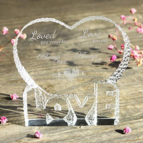 Optic Glass Trophy - H&D Quote Glass Paperweight Loved You Yesterday Love You Still Always Have Always Will: Etched Engraving Crystal Heart Shape Paperweight