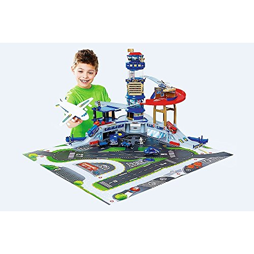 New Fast Lane Multi-Level Airport Playset with Airplane and Helicopter - Air Lane