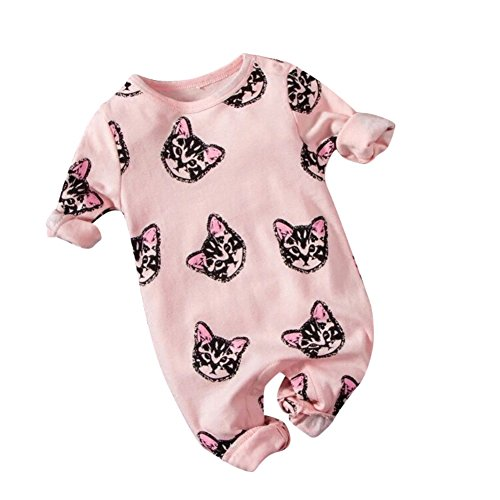 Weixinbuy Toddler Baby Cat Print Snap-up Romper Long Sleeve Footie Clothes (Print Snap)
