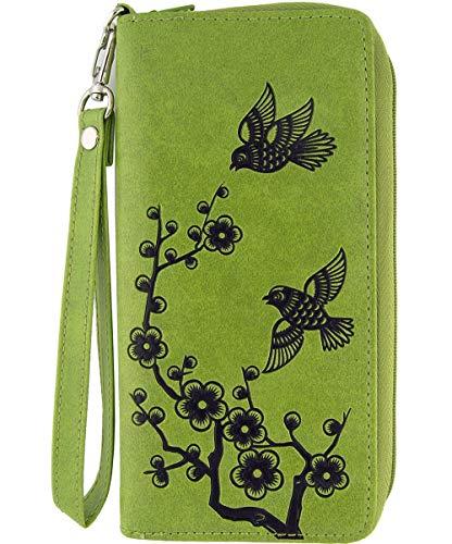 (LAVISHY Love Birds & Plum Blossom Flower Embossed Vegan/Faux Leather Large Wristlet Wallet (Green))
