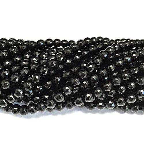 (jennysun2010NaturalBlack Onyx Gemstone 3mm FacetedRoundLooseBeads Length15.5''Inches(38.5cm)1StrandperBagforBraceletNecklaceEarringsJewelryMakingCraftsDesignHealing)