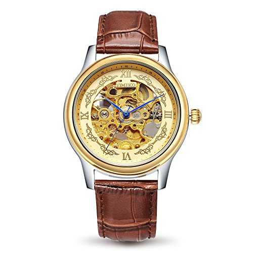 Time 100 Mens Business Wristwatch Skeleton Automatic Mechanical World Time Zones Watches Fashion Stainless Band for Men
